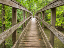 Wooden Footbridge Over River. A wooden footbridge on the Appalachian Trail provides safe crossing for hikers over a river royalty free stock photography