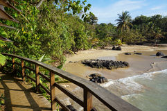 Wooden footbridge over a tropical beach Stock Photos