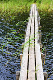 Wooden footbridge over the water Royalty Free Stock Photo