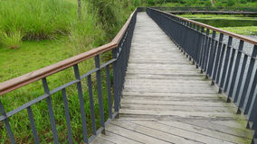 Wooden footbridge. In the park Stock Images