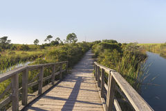 Wooden Footbridge Path at Fort Pickens stock photography