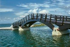 Wooden footbridge in the port Stock Photos