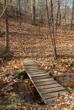 Wooden footbridge spanning a small creek Royalty Free Stock Images