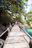 Wooden footbridge to the beach Stock Photos