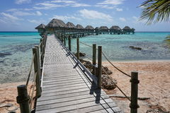 Wooden Footbridge To Overwater Bungalows Royalty Free Stock Photography