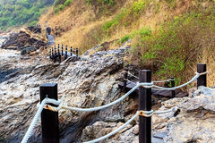 Wooden Footbridge Trail for Mountain Trekking Royalty Free Stock Image