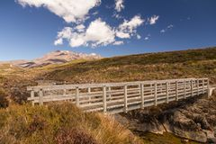 Wooden footbridge on tramp in Tongariro National Park, New Zeala. A short tramp or hike in Tongariro National Park on New Zealand`s North Island takes walkers on Royalty Free Stock Photo