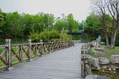 Wooden footbridge in verdant spring Stock Photos
