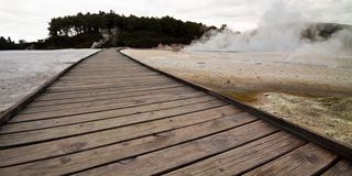 Wooden footpath along craters - New Zealand Stock Image