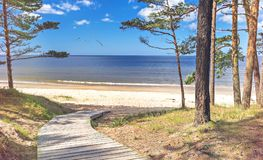 Wooden footpath leading to the Baltic Sea Stock Photos