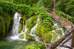 Wooden footpath in the Plitvice lakes. Croatia royalty free stock photography