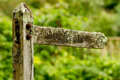 Wooden footpath sign-post Royalty Free Stock Photo