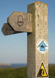 Wooden footpath sign post royalty free stock photo
