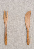 Wooden fork and knife Royalty Free Stock Photos