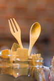 Wooden fork and spoon Stock Images