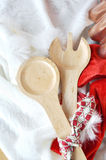 Wooden Fork and Spoon on Christmas Concept Stock Photography