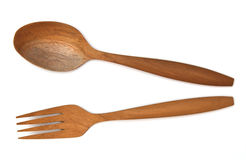 Wooden fork spoon stock photography
