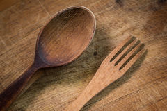 Wooden fork and spoon Stock Image