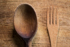 Wooden fork and spoon Royalty Free Stock Photography