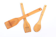 Wooden  fork, spoon, spatula Stock Images