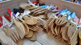 Wooden forks and spoon gift set in wooden tray Royalty Free Stock Photo