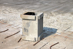 Wooden form work. Box on concrete floor in building site stock photography