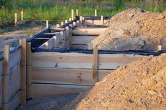Wooden formwork concrete strip foundation for a cottage. stock photo