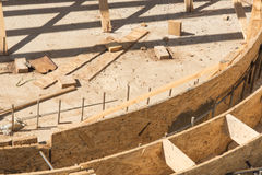 Wooden formworks of swimming pool construction Royalty Free Stock Photography