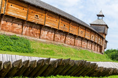 Wooden fort with palisade Royalty Free Stock Photos