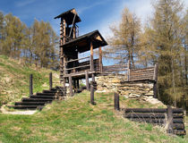 Wooden fortification on Havranok hill, Slovakia Royalty Free Stock Photos