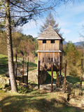 Wooden fortification tower in Havranok stock photos