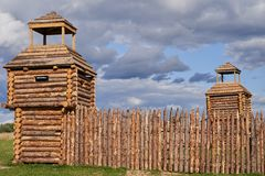 Wooden fortifications of the early middle ages. Reconstruction.  stock photo