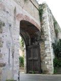 Wooden fortress door Stock Photo