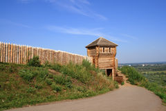 Wooden fortress for historical reconstruction Stock Photo