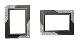 Wooden frame. With silver handmade Stock Photos