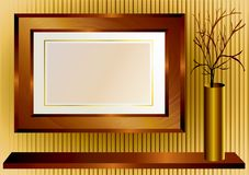 Wooden frame. Background with wooden frame and gold vase stock illustration