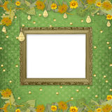 Wooden frame on the abstract background with bunch. Of flowers and streamers stock illustration