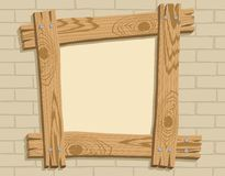 Wooden frame against a backdrop of brickwall. Frame of wooden boards against a backdrop of brickwall, vector illustration Royalty Free Stock Image
