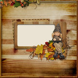 Wooden frame on autumn background Royalty Free Stock Photos
