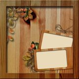 Wooden frame with autumn leafs Royalty Free Stock Photography
