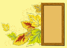 Wooden frame and autumn leaves. Wooden frame for photo or text on a background of autumn leaves flying Stock Image