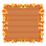 Wooden frame with autumn leaves vector Royalty Free Stock Photography