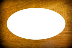 Wooden frame background with oval cut out. Royalty Free Stock Photography