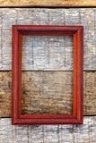 Wooden frame on wooden background stock image