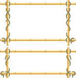 Wooden frame of bamboo sticks swathed in rope. Royalty Free Stock Images