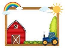 Wooden frame with barn and tractor. Illustration Stock Images