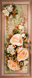 Wooden frame with beautiful roses Royalty Free Stock Photos