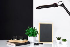 Wooden frame with black place for text. Mock up. Stylish room interior. Green plant in a white pot on black-white wall. Background. Copy space stock image