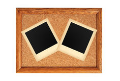 Wooden frame with blank old photo isolated on white Stock Image