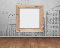 Wooden frame blank whiteboard with sun clouds buildings doodles Stock Photo